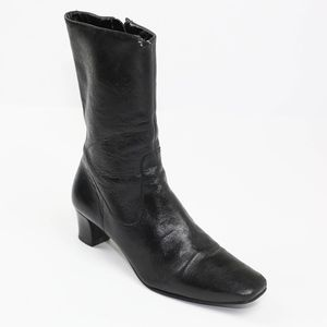 Antonio Melani Black Leather Heeled Boots